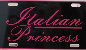 License Plate Italian Princess